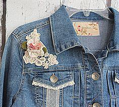 Womens Denim Jean Jacket / Praire Shabby by AmadiSloanDesigns, $46.00
