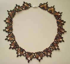 Free pattern for amazing beaded necklace Bronze Evening   U need: seed beads 11/0 bugle beads After finishing step 7, continue with step 2