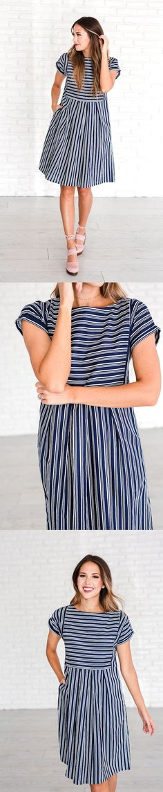 $16.90 - This navy + white striped dress is as easy on the eyes as it is on the body. From the slightly raised waist, the skirt releases into forgiving flare. This dress walks a fine line to give you maximum comfort and functionality: it's full, but not too full; relaxed, but not too loose; and the strips make it versatile enough for a day at the office or a fun night on the town. Literally PERFECT!