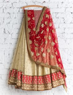 SMF LEH 112 16 Anmol gold lehenga with scralet red dupatta 18 January 2017 Indian Bridal Outfits, Indian Bridal Lehenga, Indian Bridal Wear, Pakistani Outfits, Indian Sarees, Indian Dresses, Indian Wear, Indian Clothes, Desi Clothes