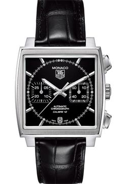 View all TAG Heuer® Official Website - All MONACO Watches watches and find the perfect watch for your wrist. TAG Heuer Swiss avant-garde since Gents Watches, Fine Watches, Cool Watches, Monaco Tag Heuer, Black Leather Bracelet, Bracelet Cuir, Luxury Watches For Men, Crocodile, Jewelry Watches