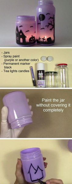 Easy Diy Halloween Decorations For The Home Spooky Lanterns Enchanting Lanterns 17 Purple And Black Halloween Decorations For The House That Will Make The Neighbors Jealous Theme Halloween, Halloween Tags, Holidays Halloween, Spooky Halloween, Halloween Crafts, Halloween Decorations, Halloween Lanterns, Halloween House, House Decorations