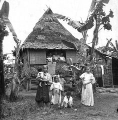 A Filipino home near Manila, Philippines, early Century Philippines People, Philippines Culture, Manila Philippines, Philippines Travel, Vintage Pictures, Old Pictures, Old Photos, Filipino House, Ancient Greek Architecture