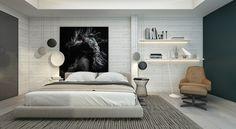 lámparas preciosas en el dormitorio moderno