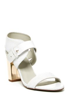 81a6b0a8297 Plomo Margot Sandal in Ice with Metallic Accent Heel - Open toe -  Adjustable prong strap closure - Snake embossed leather construction -  Metallic accent ...