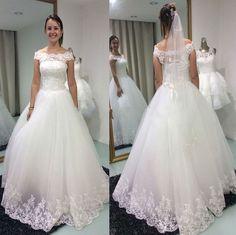 Elegant Chiffon Tulle Lace Appliques Ball Gown Floor Length Wedding Dress Hot Sale Short Sleeves Vestido De Noiva China VB028