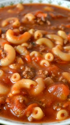 Beefy Tomato Macaroni Soup Recipe ~ so hearty and filling