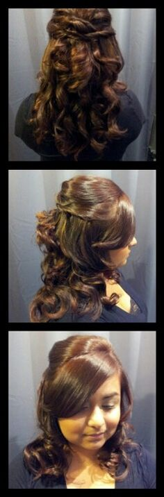 Bridal Updo. Curled all hair first. Then pinned up top & sides. Crissed-crossed hair in back.