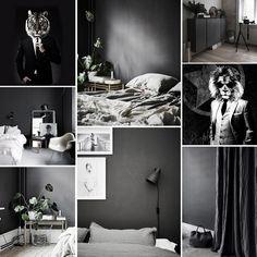Black bedroom./ #moodboard