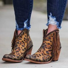 Fashion leopard tassel low heel shoes non-slip boots Low Heel Boots, Suede Ankle Boots, Low Heels, Heeled Boots, Shoes Heels, High Boots, Ankle Booties, Vintage Slip, Vintage Boots