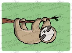 Happy Sloth Card  birthday anniversary by ReLovePlanet on Etsy, $4.50