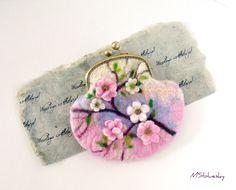 Wet Felted Sakura Easter motives coin purse with bag frame metal closure