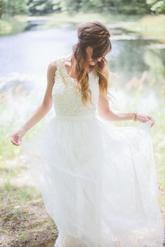 Wedding Dress -- Free People. See the wedding on Style Me Pretty: http://www.StyleMePretty.com/2014/03/05/rustic-woodland-wedding-at-juliane-james-place/ Photography: Paper Antler