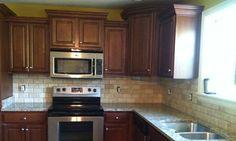 Kitchen backsplash tile by Link Renovations Kitchen Backsplash, Kitchen Cabinets, Granite Tops, Stone Tiles, Countertops, Kitchen Remodel, Household, Remodels, Kitchen Ideas