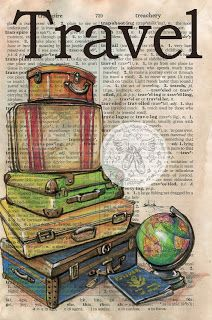 Print: travel mixed media drawing on antique dictionary page shoe art, mixed media art Watercolor Flower, Book Page Art, Vintage Suitcases, Dictionary Art, Shoe Art, Altered Books, Medium Art, Retro, Mixed Media Art
