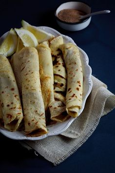 Pancakes with Cinnamon Sugar. A South-African favourite Pancakes (crepes) with cinnamon-sugar. The ultimate comfort food. Crepe Suzette, Strawberry Crepes, Chocolate Dipping Sauce, South African Recipes, Pancakes And Waffles, Galette, Great Recipes, Fall Recipes, Recipe Ideas