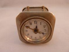 Vintage / Antique German Travel Alarm Clock Wind Up Small Cube Shape Metal Case