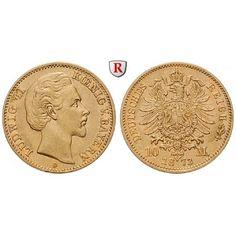 Deutsches Kaiserreich, Bayern, Ludwig II., 10 Mark 1873, D, ss+, J. 193: Ludwig II. 1864-1886. 10 Mark 1873 D. J. 193; GOLD, sehr… #coins