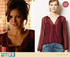 Anthropologie Neve Peasant Blouse in Wine worn by Nina Dobrev on The Vampire Diaries