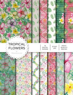 """Digital Paper - Tropical Flowers - Instant Download - Digital Artwork by mormonlinkshop  5.00 USD  Digital paper is a bit of a misnomer as no paper is involved! You can use these JPEG versions of 12""""x12"""" papers to create backgrounds photo mattes die-cuts etc. just as you would have used a traditional piece of paper. Of course you're able to use these over and over again no longer will you worry about making the """"wrong cut"""" and wasting your supply. Great for all ages classes activities etc…"""