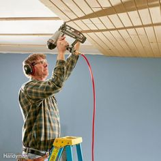 Install a Tongue and Groove Ceiling Home Improvement Contractors, Home Improvement Projects, Home Projects, Home Improvements, Home Renovation Loan, Ceiling Texture, Textured Ceiling, Home Addition Plans, Tongue And Groove Ceiling