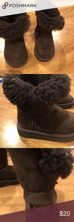 Toddler size 7 UGGS GUC Uggs- toddler size 7 chocolate brown Bailey button  Some fuzz in fur, clean, no scuffs, worn many times so good used condition UGG Shoes Winter & Rain Boots
