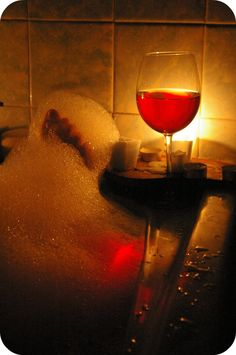 Wine, check. Candles, check. Soap suds, check. #loving #life