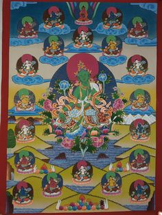 Thangka Painting, Green Tara, Esoteric Art, Nepal, Karma, Statues, 21st, Hand Painted, Hands