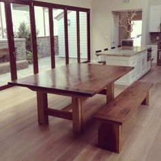Walnut Top Trestle Dining Conference Table // by MonkandHoney