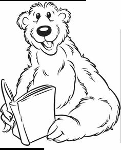 coloring a bear reading a book picture