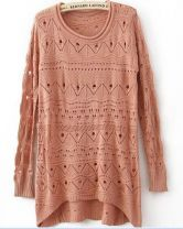Orange Curved Hum Knit Holey Texture Long Sweater $30.08
