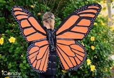 icandy handmade: (tutorial) DIY Monarch Butterfly Costume - love this tutorial. Do this but smaller and in white for moth wings