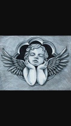 Cherub angels and cherubs Chicano Tattoos, Body Art Tattoos, Sleeve Tattoos, Tattoo Sketches, Tattoo Drawings, Tattoo Oma, Neck Tatto, Badass Tattoos, Bad Tattoos