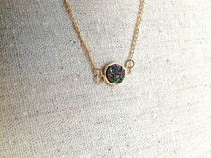Rainbow Druzy Gold Fill Necklace sparkly glitter by tigerlilydream, $60.00