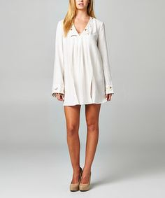 Another great find on #zulily! Korai Natural Sheer Bead V-Neck Tunic by Korai #zulilyfinds