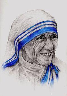 Portrait of Mother Teresa Portrait Sketches, Art Drawings Sketches, Pencil Portrait, Portrait Art, Catholic Art, Religious Art, Mother Teresa Images, Saint Teresa Of Calcutta, Clip Art Pictures