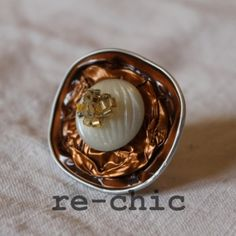 Coffee pods ring with vintage button and beads   Anello con capsule Nespresso, bottone vintage e perline