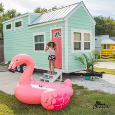 Try out tiny house living in the Flamingo- one of several tiny houses available at the Tiny House Siesta resort in Sarasota, Florida!