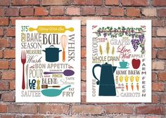 Modern Kitchen Art Prints   Farm Fresh Subway Typography Fine Art Prints  Set Of (2) 8x10, 11x14, 16x20 Home And Living Wall Decor   Unframed