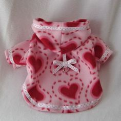 Pink Valentine Dog Hoodie with Red Heart Print by LittleDogFashion, $44.00