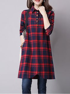 Red Casual Checkered/Plaid H-line Shirt Collar Dress Stylish Dresses, Casual Dresses, Casual Wear, Kurta Designs, Blouse Designs, Chic Outfits, Pretty Outfits, Hijab Fashion, Fashion Dresses