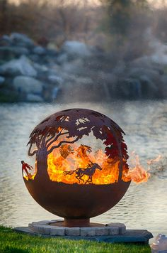 Wildfire Horse Theme Outdoor Fire Pit Sculptural Sphere Firebowl