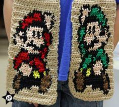 Multibeavo's World: Free Crochet Pattern Super Mario & Luigi Scarf