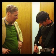Paul and Rory practicing backstage at The Late Late Show