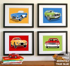 Childrens art - transportation wall art - Vintage sports cars - boys art prints - nursery art prints - pick your colors on Etsy, $45.00