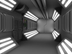 Some more detail work on the corridor product, this will then be sold on Renderosity after I get it all finished and textured. Again – all lighting is done with GI Portals – no lights. Spaceship Interior, Futuristic Interior, Futuristic Architecture, Futuristic Design, Science Fiction, Sci Fi Spaceships, Sci Fi Environment, Spaceship Concept, Space Station
