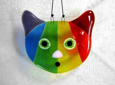 Rainbow Glass Cat by AzureFire on Etsy        #cgge