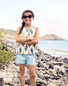 JUN '14 Style Guide: J.Crew girl's top in watercolor ikat and Selima Optique® for crewcuts ecole sunglasses.