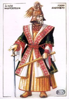 "Grand Prince Álmos of Hungary - Álmos, according to Gesta Hungarorum, was freely elected by the heads of the seven Hungarian tribes as their ""leader and master"". Hungary History, Grand Prince, Early Middle Ages, Heart Of Europe, Austro Hungarian, Dark Ages, My Heritage, Historical Pictures, Fashion History"