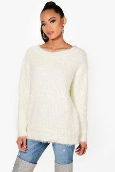 boohoo Kaye Fluffy Knit Jumper Sweater Cardigan ba10ed5a2